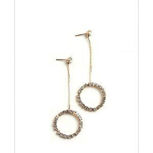 Jewelry - Gold Multi Stone Drop Hoop Earrings